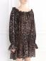 Платье-мини из полиэстера с анималистичным узором Norma Kamali  –  Модель Верх-Низ