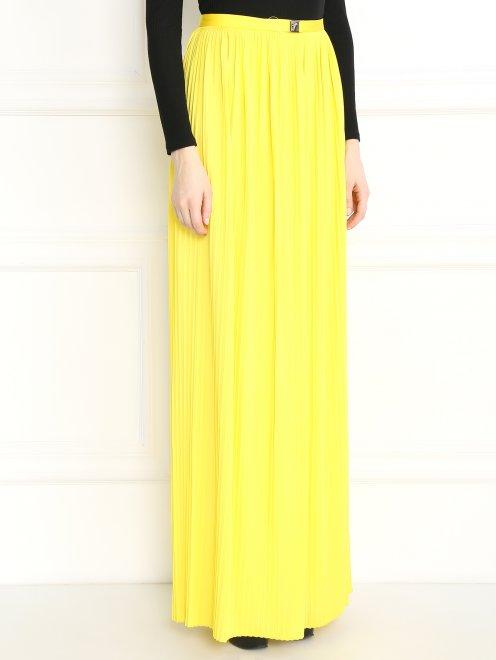 Плиссированная юбка-макси с металлической фурнитурой - Модель Верх-Низ