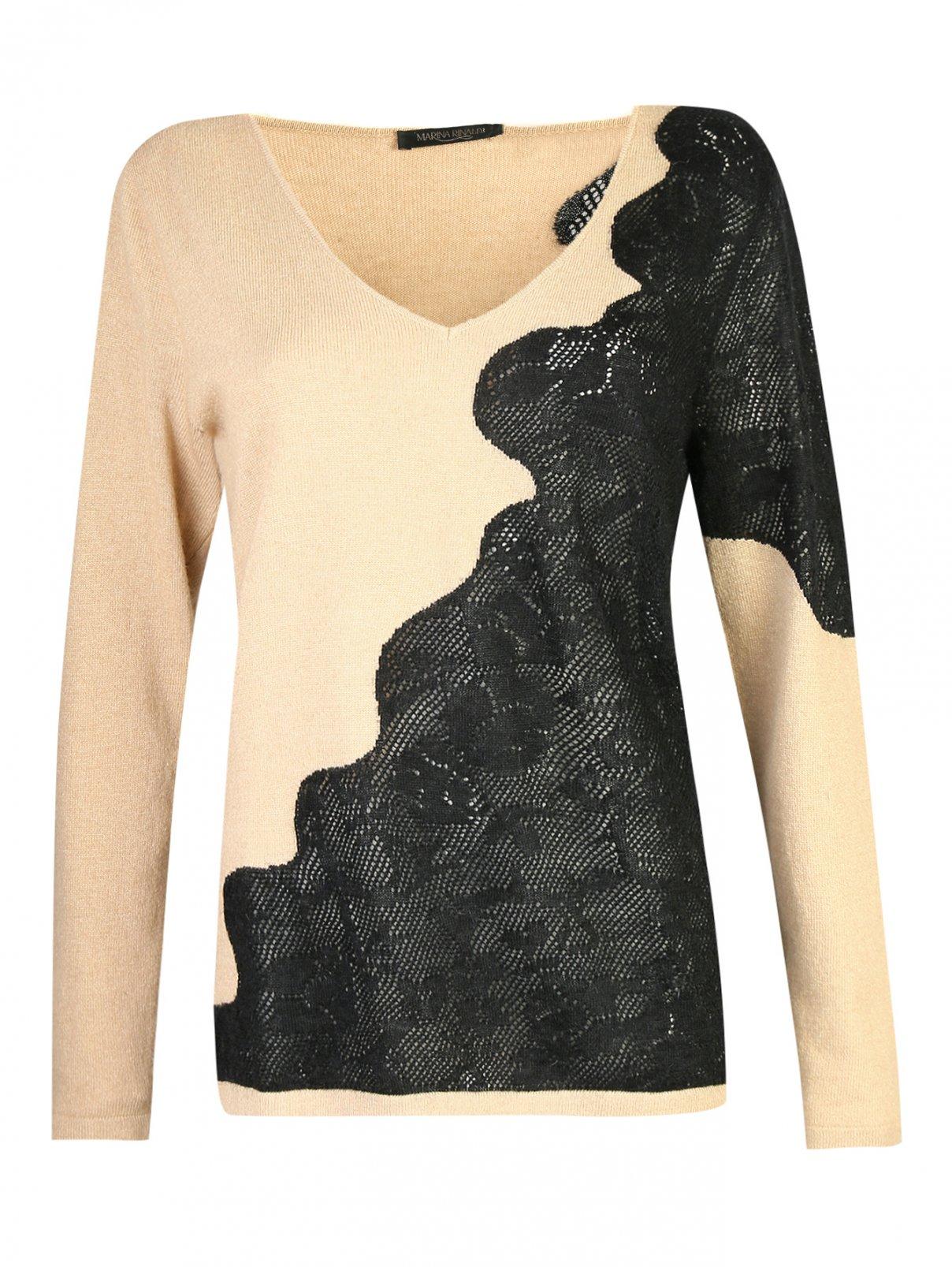 Джемпер из смесовой шерсти с рисунком Marina Rinaldi  –  Общий вид