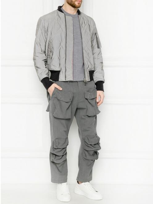 Брюки из смешанной шерсти с накладными карманами  - Общий вид