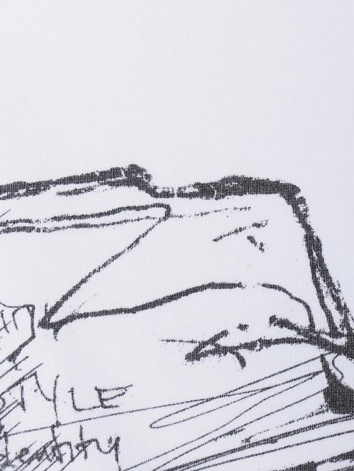 Футболка из хлопка с принтом  - Деталь
