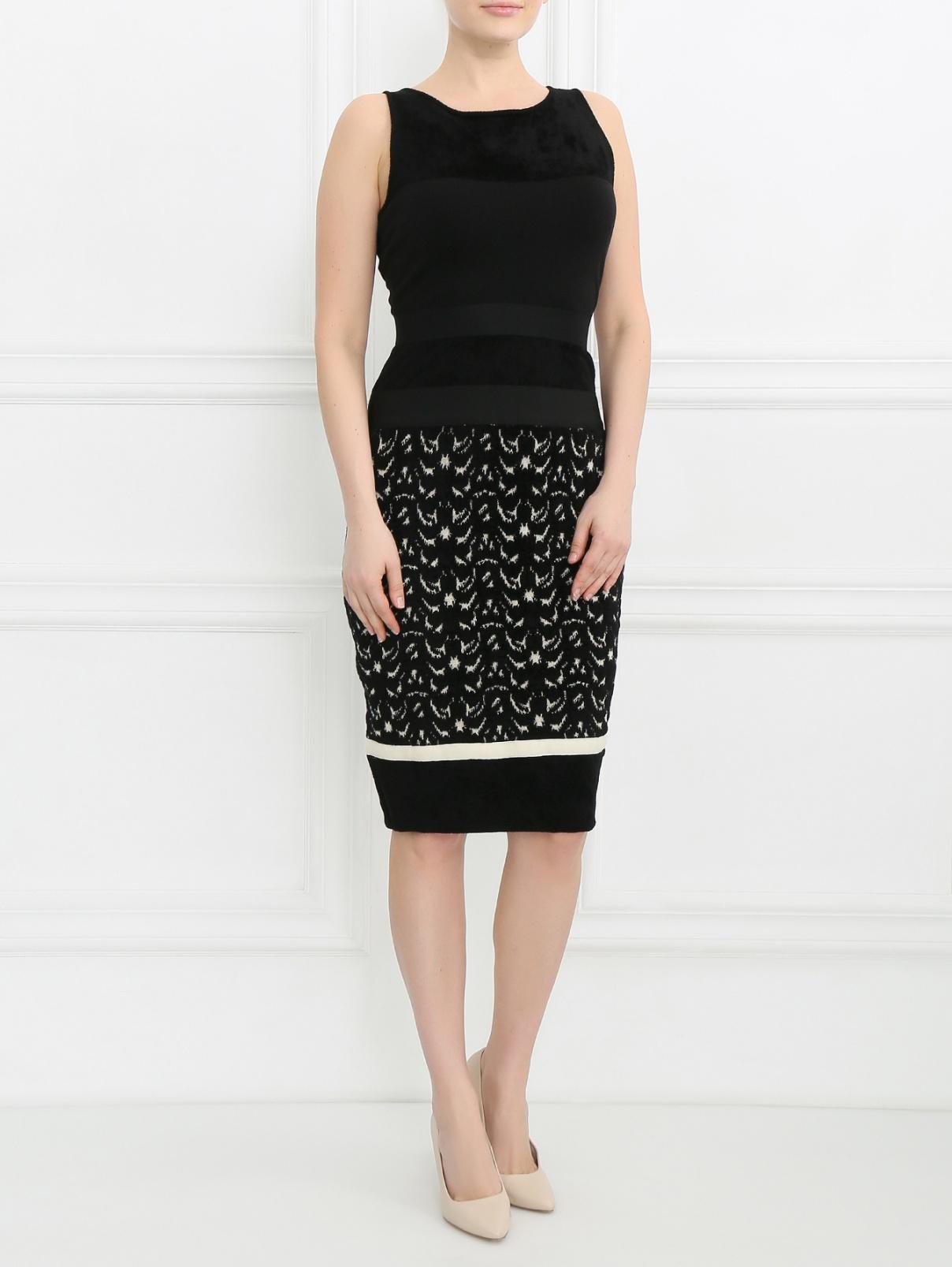 Платье-футляр с узором Giambattista Valli  –  Модель Общий вид  – Цвет:  Черный