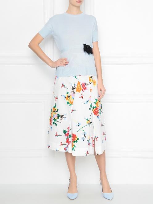 Юбка из хлопка с цветочным узором - МодельОбщийВид