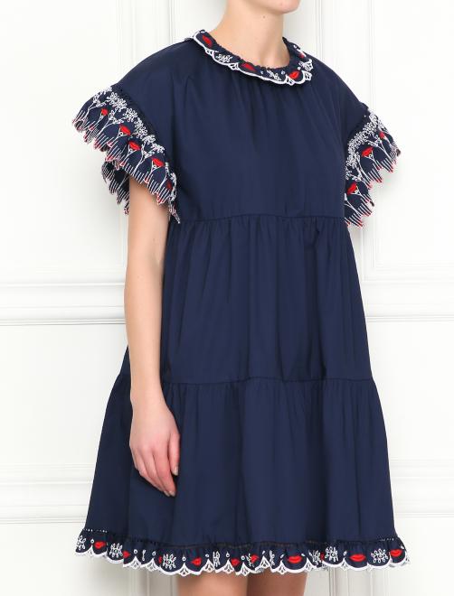 Платье-мини из хлопка с контрастной вышивкой - МодельВерхНиз
