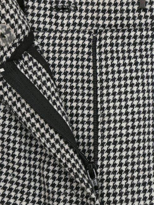 """Укороченные брюки из шерсти с узором """" клетка"""" и лампасами - Деталь1"""