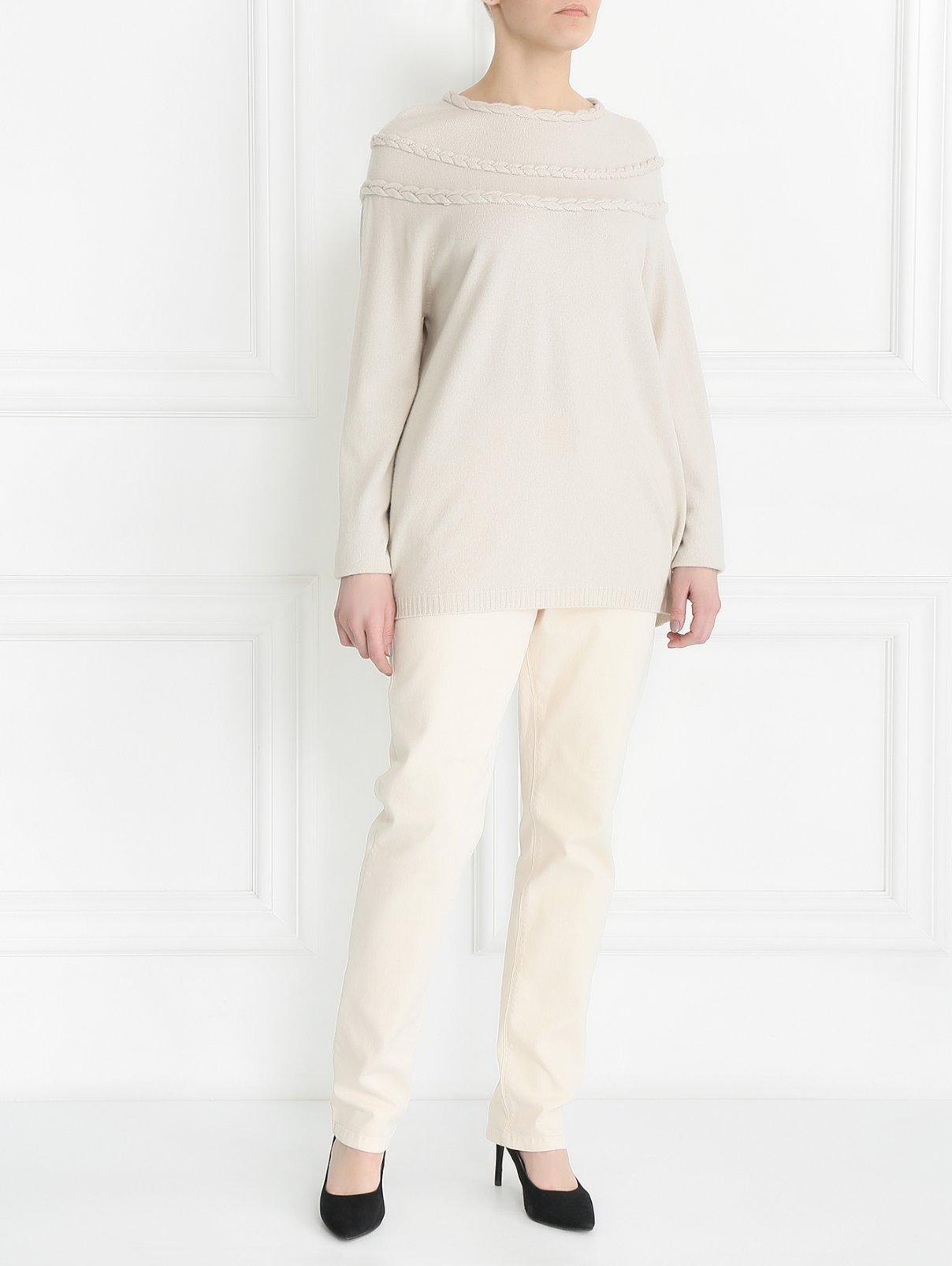 Джинсы прямого кроя с боковыми карманами Marina Sport  –  Модель Общий вид  – Цвет:  Бежевый