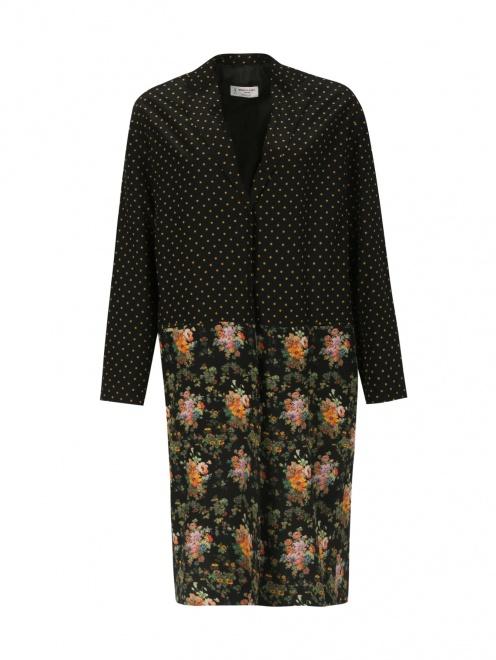 Легкое пальто из шелка с цветочным узором - Общий вид