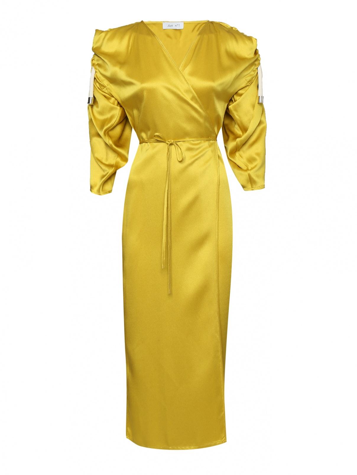 Платье на запах со сборкой по рукавам Act №1  –  Общий вид  – Цвет:  Желтый