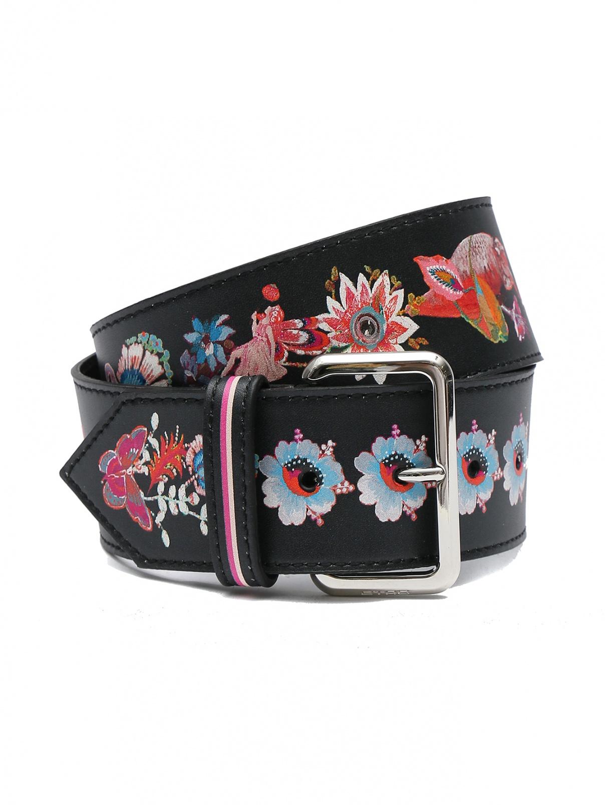 Ремень кожаный с флористическим принтом Etro  –  Общий вид  – Цвет:  Черный