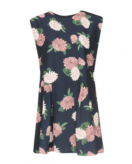 Платье-мини свободного фасона и цветочным узором - Общий вид