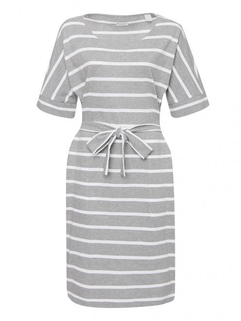 Платье из хлопка с узором полоска  - Общий вид