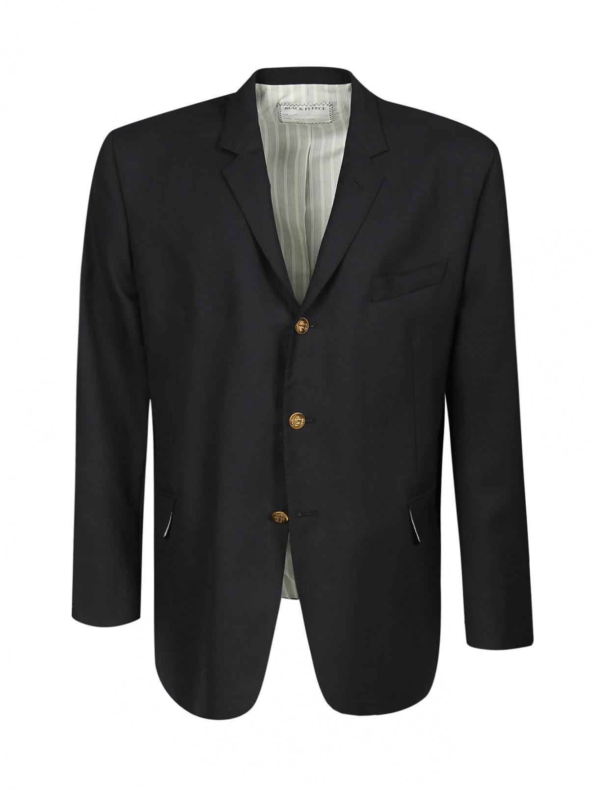 Пиджак однобортный из шерсти Brooks Brothers  –  Общий вид  – Цвет:  Черный