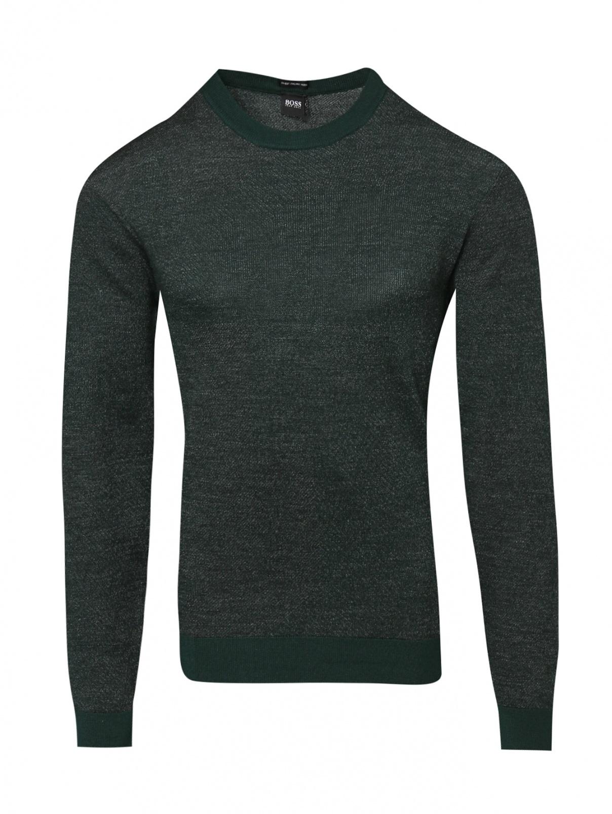 Джемпер из шерсти с круглым вырезом BOSS  –  Общий вид  – Цвет:  Зеленый