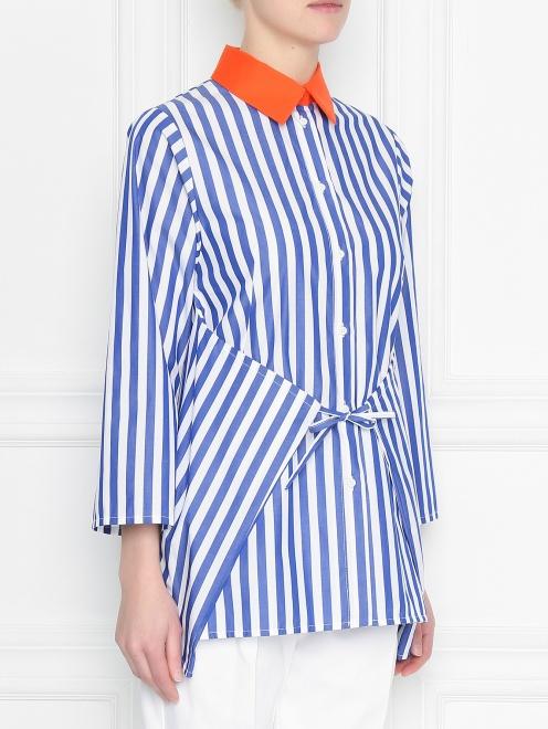 Блуза из хлопка в полоску с контрастным воротником - МодельВерхНиз