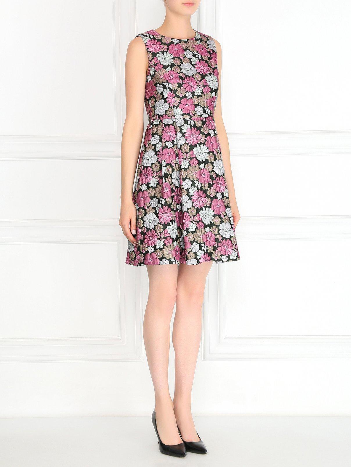 Платье с цветочным узором и симметричными складками Max Mara  –  Модель Общий вид