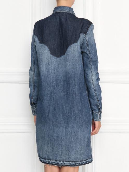 Платье из денима с контрастной отделкой - МодельВерхНиз1