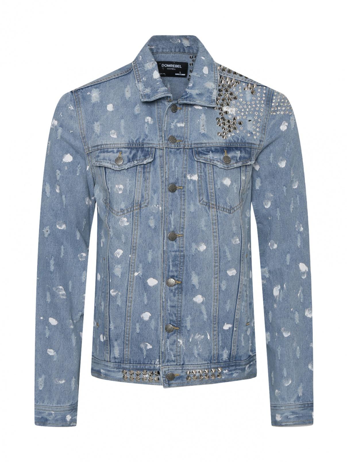 Джинсовая куртка из хлопка с металлическими аппликациями Dom Rebel Montréal  –  Общий вид  – Цвет:  Синий