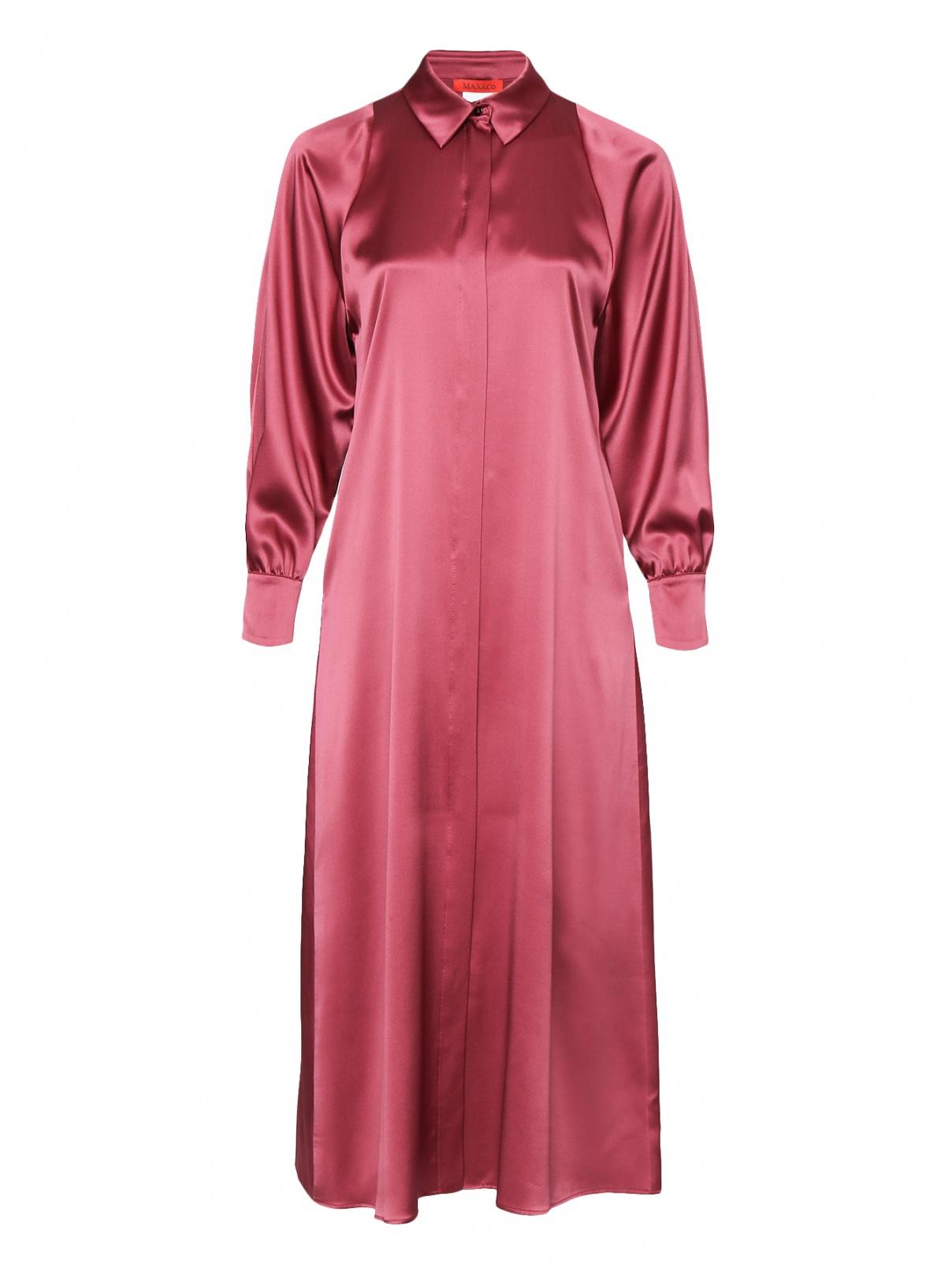 Платье-миди из шелка Max&Co  –  Общий вид  – Цвет:  Фиолетовый