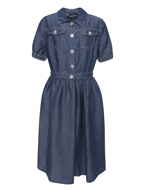 Платье-рубашка из мягкого денима - Общий вид