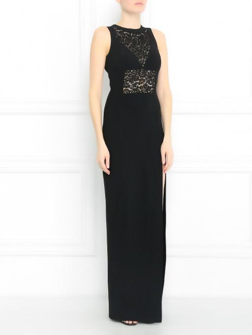 Платье-макси со вставками из кружева - Модель Общий вид