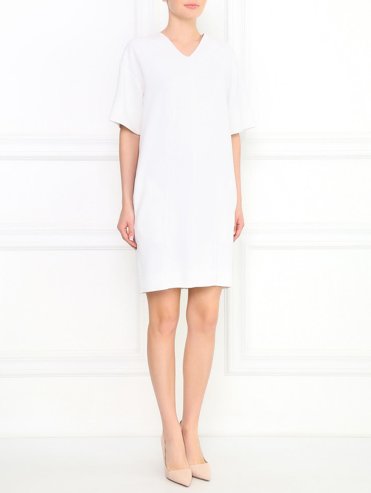 Платье-мини с боковыми карманами Cedric Charlier  –  Модель Общий вид  – Цвет:  Белый