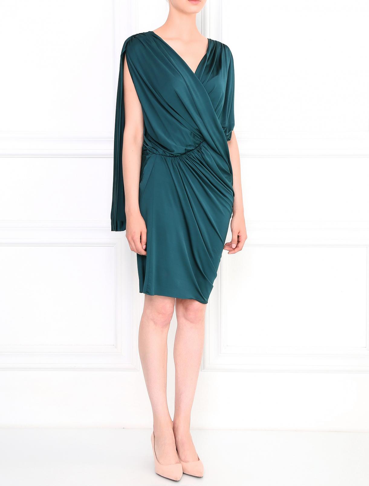 Платье с драпировкой Greta Constantine  –  Модель Общий вид  – Цвет:  Зеленый