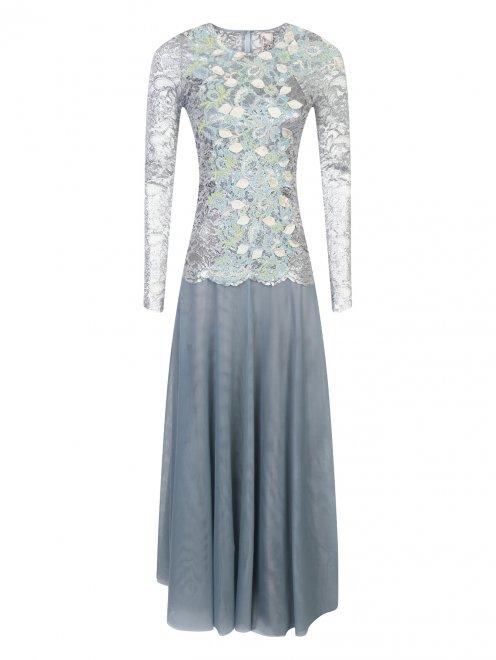Платье-макси из кружева с декоративной аппликацией - Общий вид