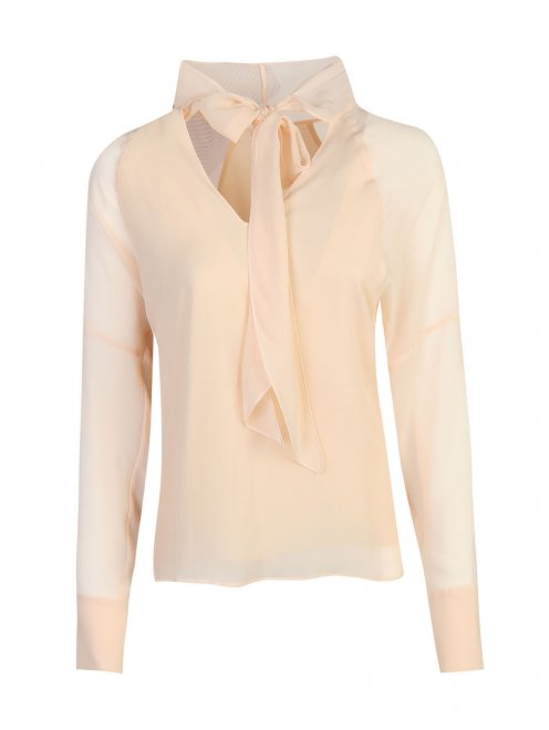 Блуза из шелка с v-образной горловиной - Общий вид
