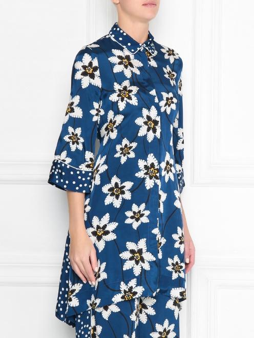 Блуза удлиненная с цветочным узором - МодельВерхНиз