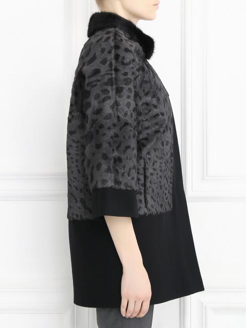 Пальто из меха козы с рукавами 3/4 - Модель Верх-Низ2