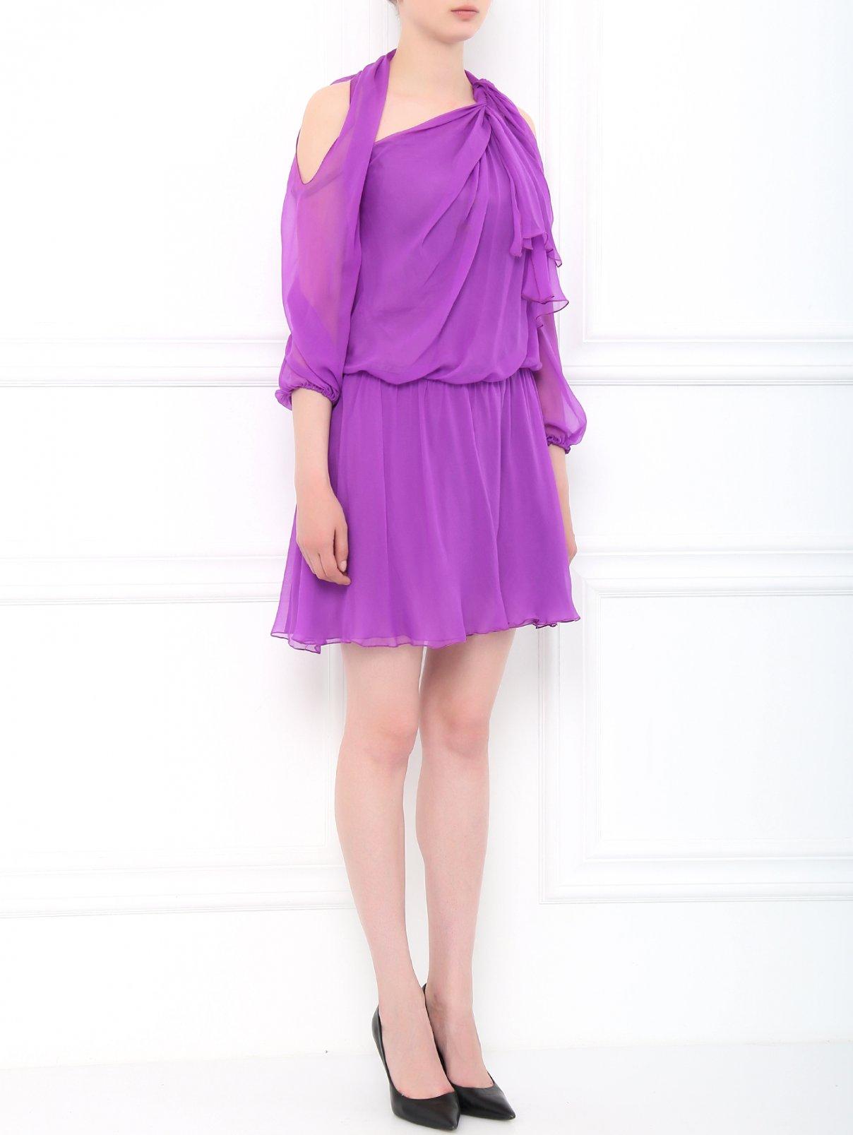Платье из шелка с открытыми плечами Alberta Ferretti  –  Модель Общий вид