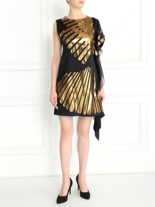 Асимметричное платье-мини из шелка с принтом - Общий вид