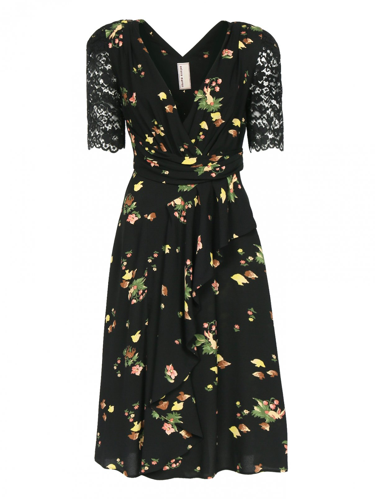 Платье-миди с узором и декоративной отделкой из кружева Antonio Marras  –  Общий вид  – Цвет:  Черный