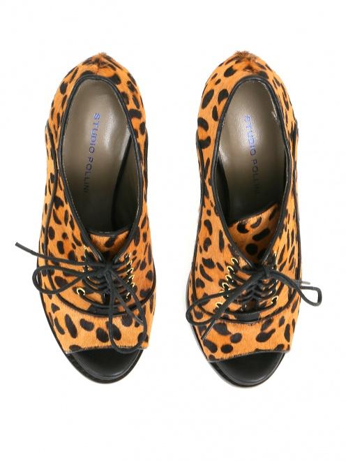 Туфли на шнуровке с анималистичным принтом  - Обтравка4