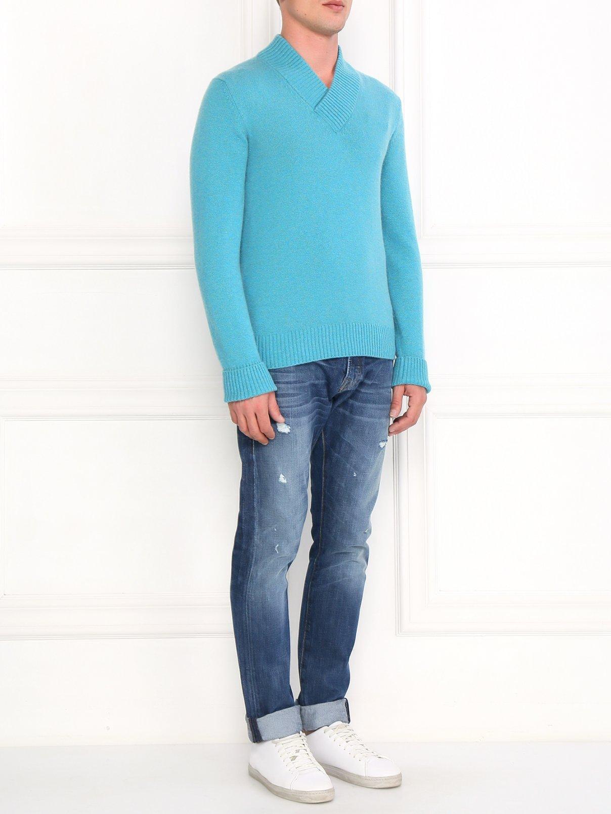 Пуловер из кашемира  свободного кроя Ballantyne  –  Модель Общий вид  – Цвет:  Синий