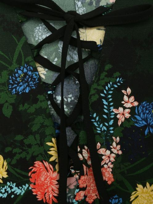 Платье из смешанного шелка с цветочным узором - Деталь1