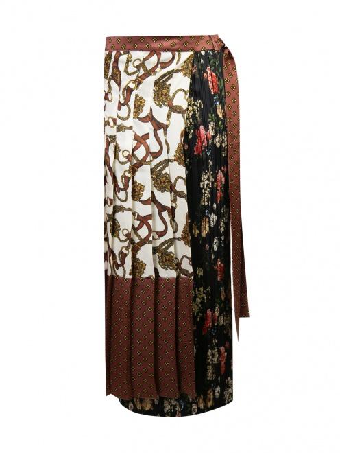 Юбка плиссированная из ткани с принтом - Общий вид