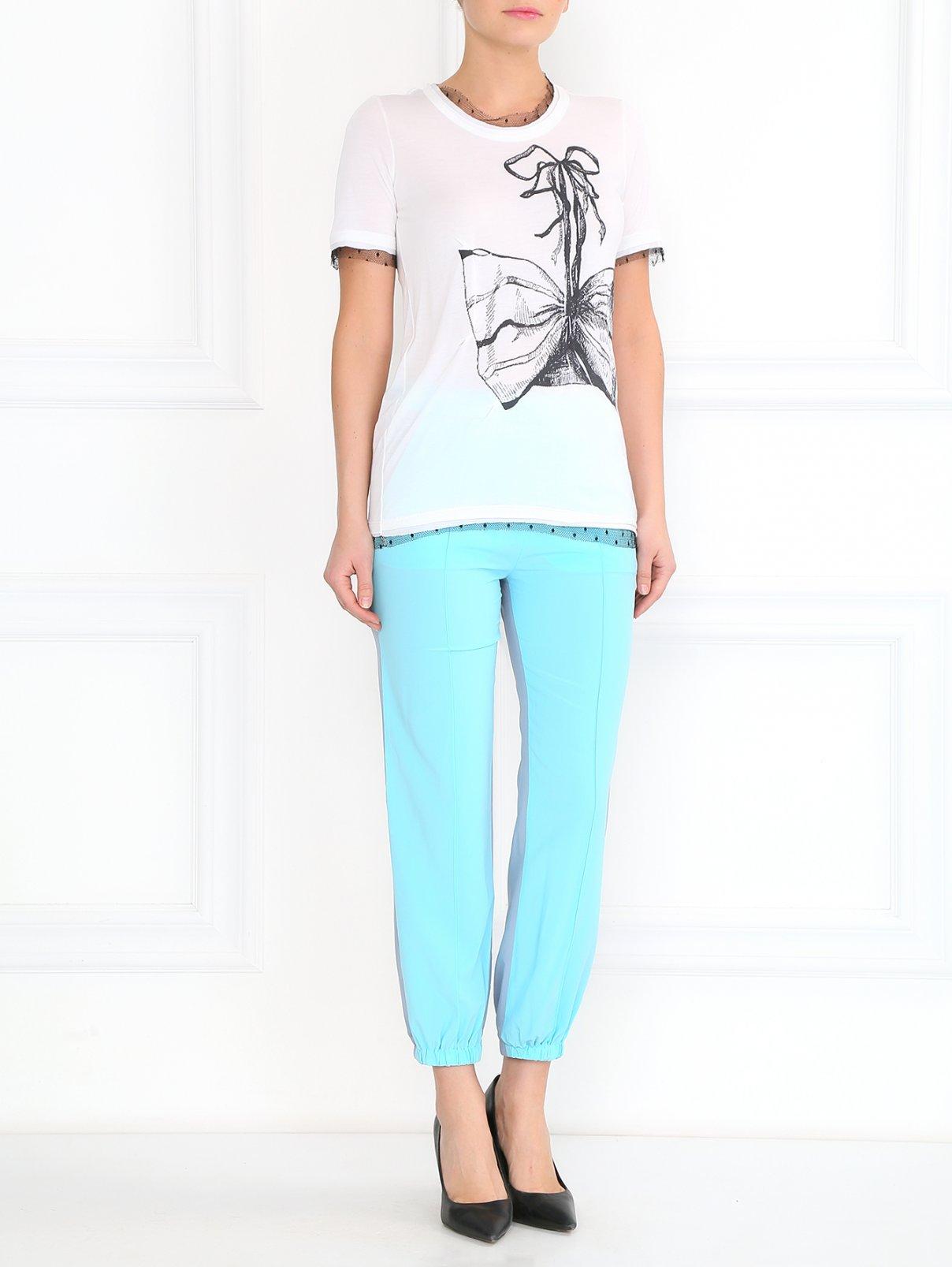 Свободные брюки из шелка Sonia Rykiel  –  Модель Общий вид  – Цвет:  Синий