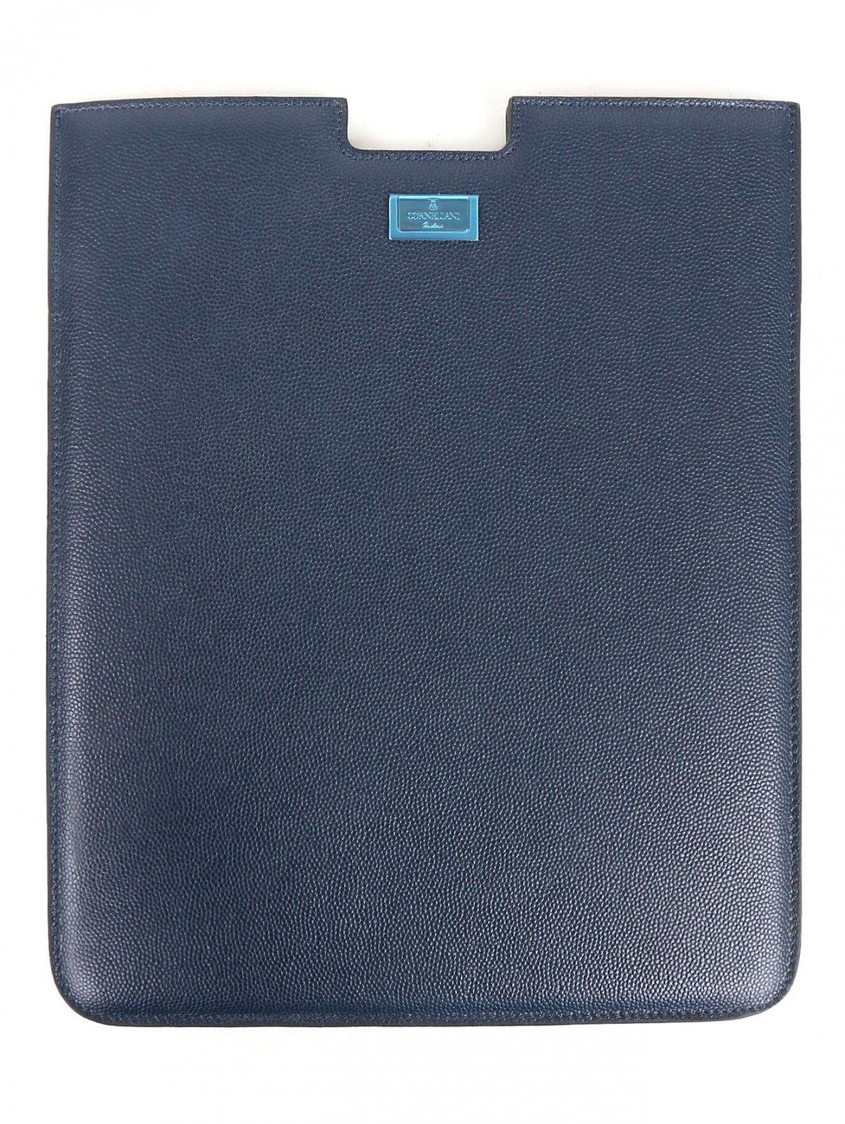 Чехол для Ipad из фактурной кожи Corneliani  –  Общий вид  – Цвет:  Синий
