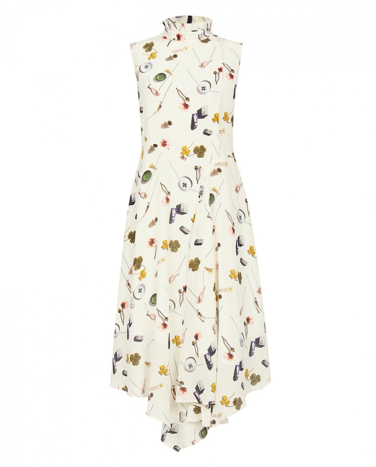 Платье-миди ассиметричного кроя из шелка с узором Edition10  –  Общий вид