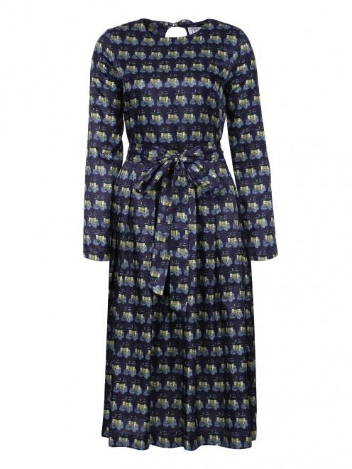 Платье-миди из хлопка и шелка с узором - Общий вид