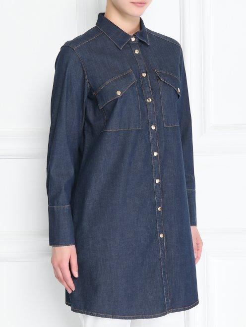 Удлиненная рубашка из денима - МодельВерхНиз