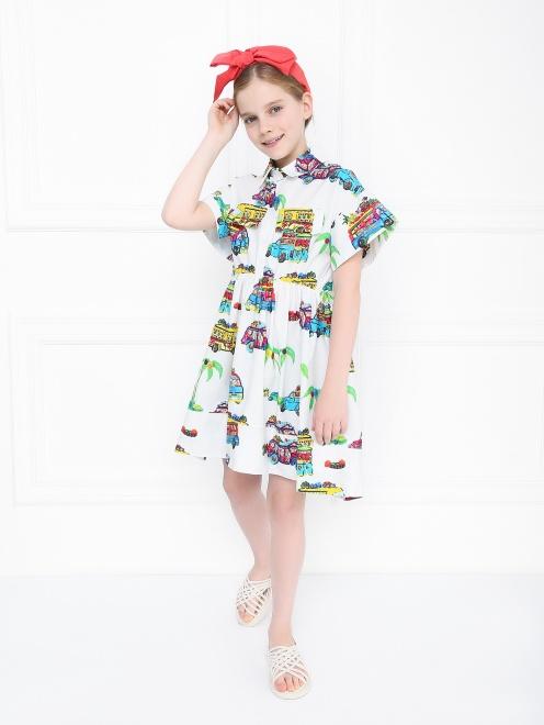 Платье-рубашка с узором - Общий вид
