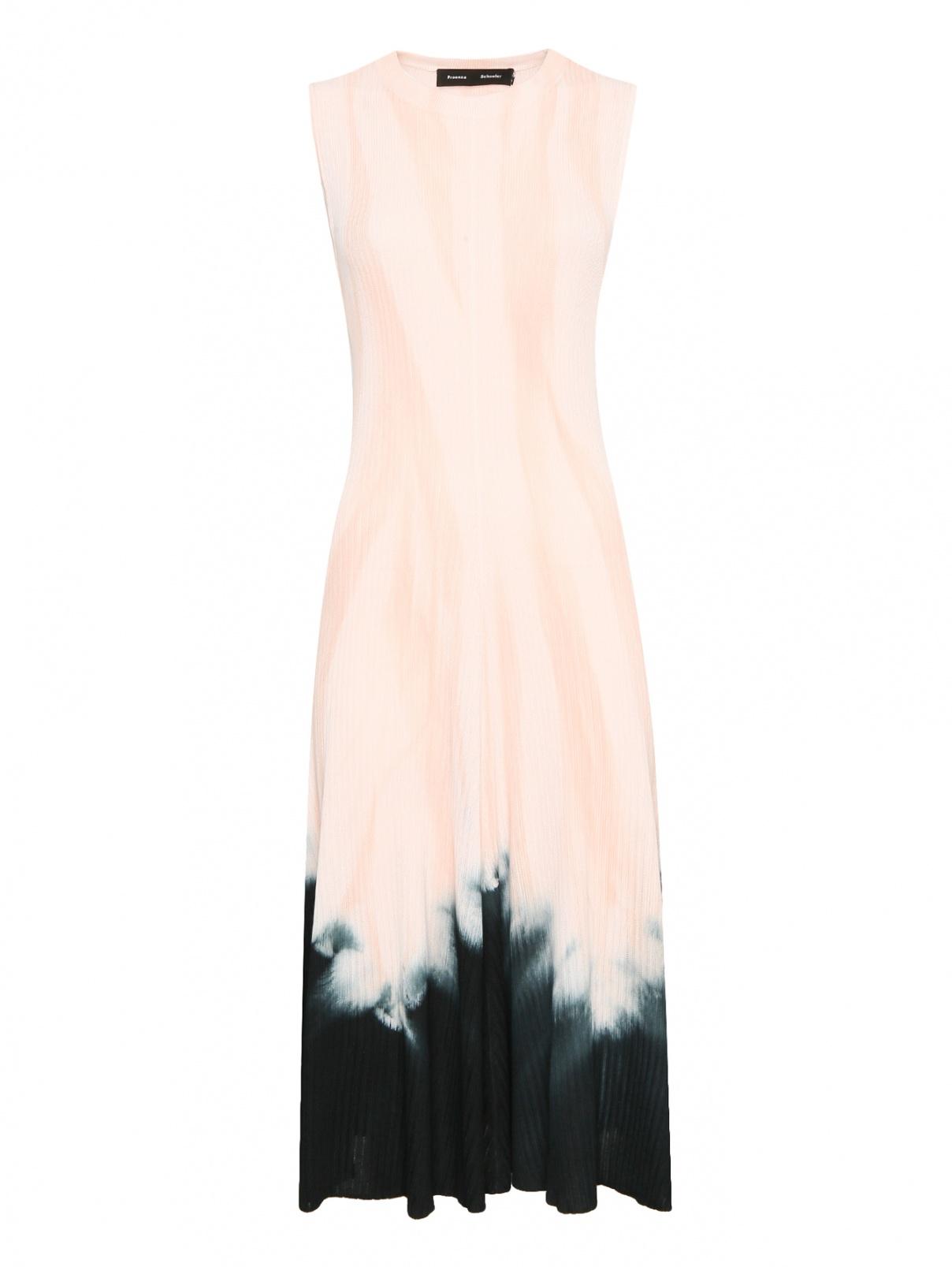 Трикотажное платье-миди с контрастной отделкой Proenza Schouler  –  Общий вид  – Цвет:  Розовый