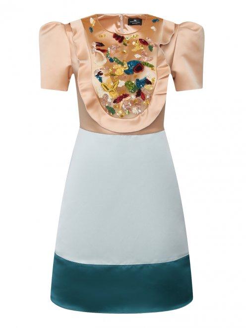 Платье с полупрозрачной вставкой, декорированное пайетками - Общий вид