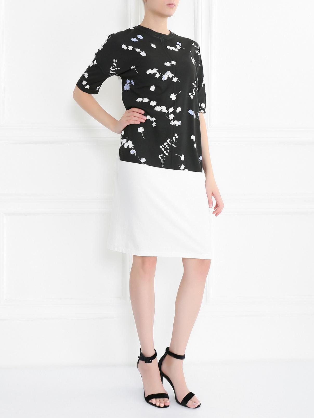 Платье из хлопка с коротким рукавом Jil Sander  –  Модель Общий вид