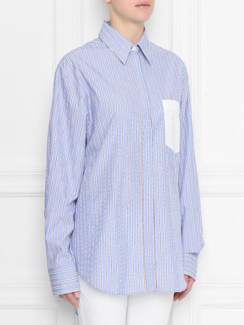 Блуза из хлопка в полоску с контрастным карманом - МодельВерхНиз