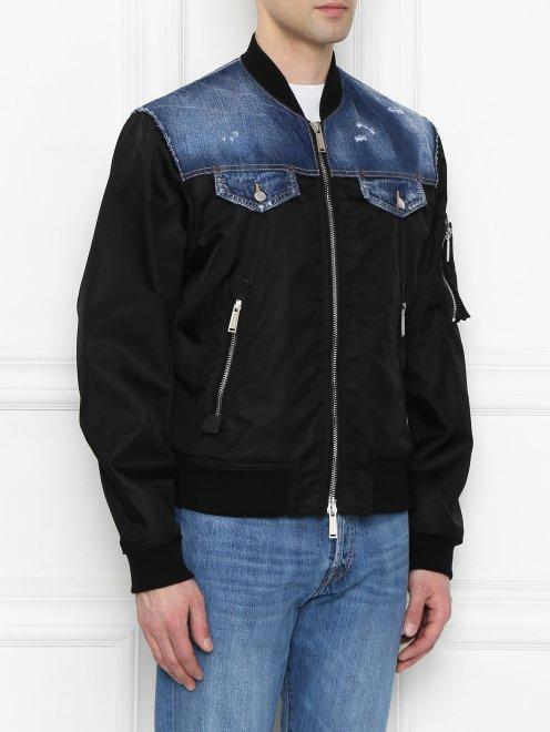 Куртка со вставкой из денима - МодельВерхНиз