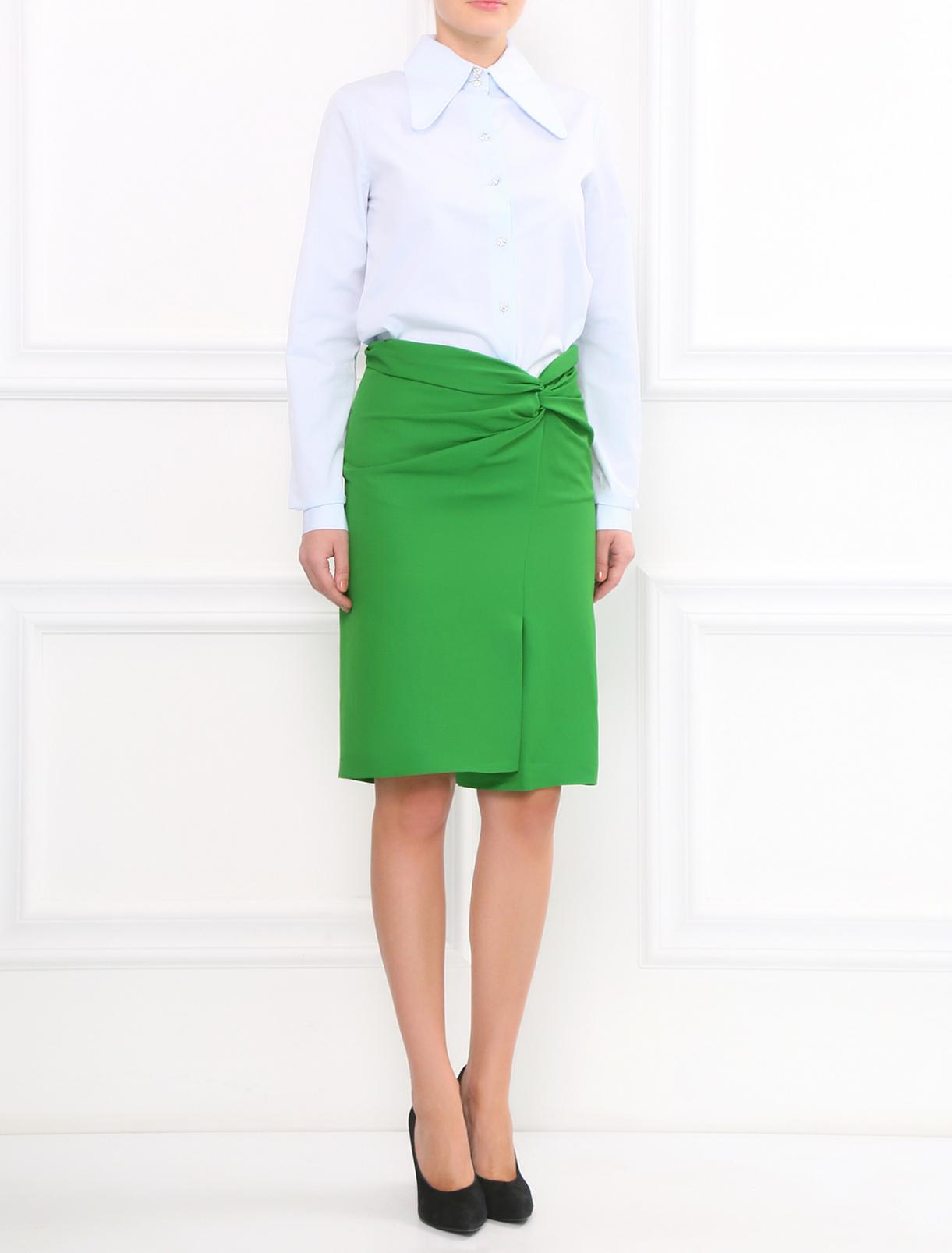 Юбка-миди с драпировкой Cedric Charlier  –  Модель Общий вид  – Цвет:  Зеленый