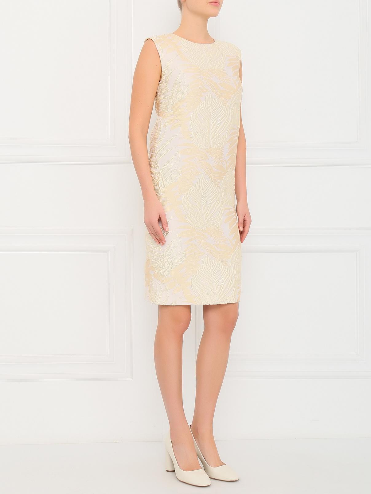 Платье-мини без рукавов прямого кроя Ermanno Scervino  –  Модель Общий вид  – Цвет:  Бежевый